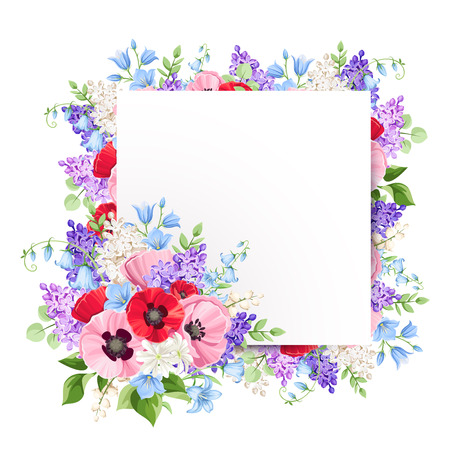 Vector greeting card with red, pink, blue and purple poppies, lilac flowers and bluebells.