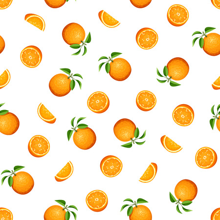 Vector seamless pattern with orange fruit on white background.