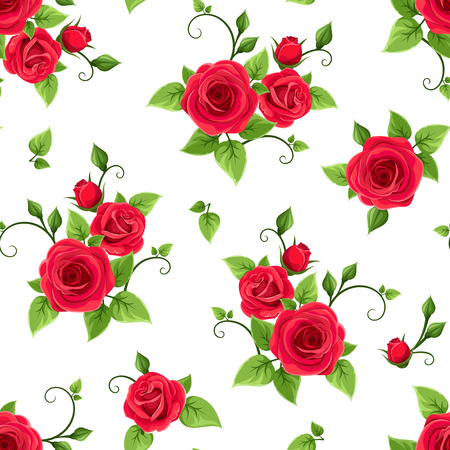 Vector seamless pattern with red roses on a white background. Ilustração