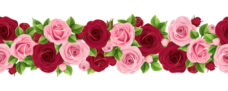 Vector horizontal seamless garland with burgundy and pink roses.