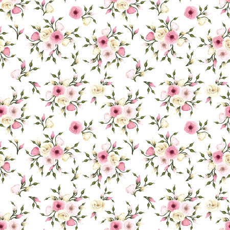Vector seamless pattern with pink and white lisianthus flowers.