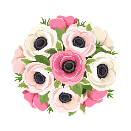 Vector bouquet of pink and white anemone flowers isolated on a white background. Illustration
