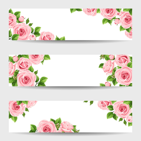 Set of thee vector web banners with pink roses. Illustration