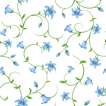 Vector seamless pattern with small blue bluebell flowers on white. Ilustrace