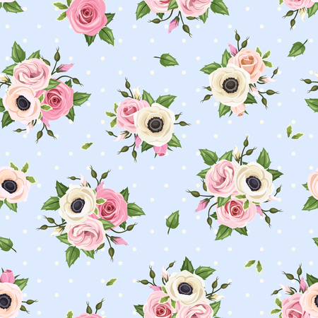 Vector seamless pattern with pink and white roses, lisianthus and anemone flowers on a blue background.