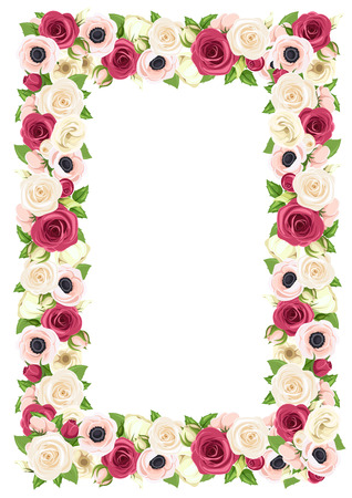 Vector background frame with red, pink and white roses, lisianthuses and anemone flowers.