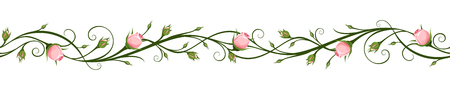 Vector horizontal seamless background with pink rosebuds.  イラスト・ベクター素材