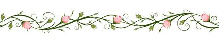Horizontaler nahtloser Hintergrund des Vektors mit rosa Rosenknospen. Vektorgrafik