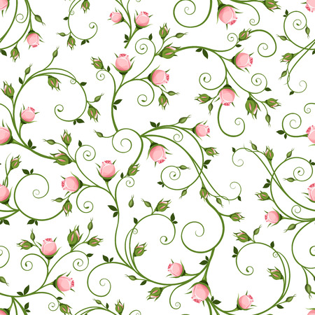Vector seamless floral pattern with pink rosebuds on a white background.