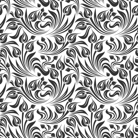 Vector seamless black and white floral pattern. Ilustrace