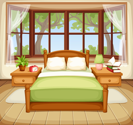 Vector illustration of a bedroom interior with a bed and a big window. Çizim