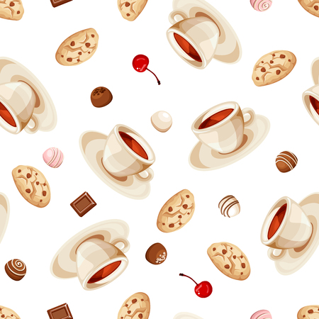 Vector seamless pattern with cups of tea, cookies and chocolate candies on a white background. Illustration