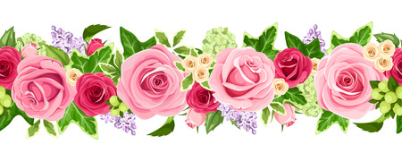 Vector horizontal seamless garland with red and pink roses, lilac flowers and green ivy leaves.