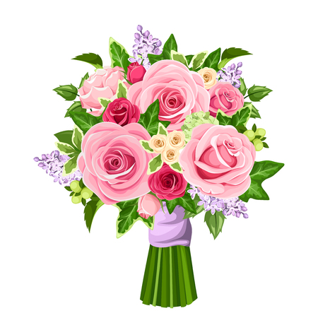 Vector bouquet of red and pink roses, lilac flowers and ivy leaves isolated on a white background. Ilustrace