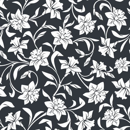 Vector seamless pattern with narcissus flowers.