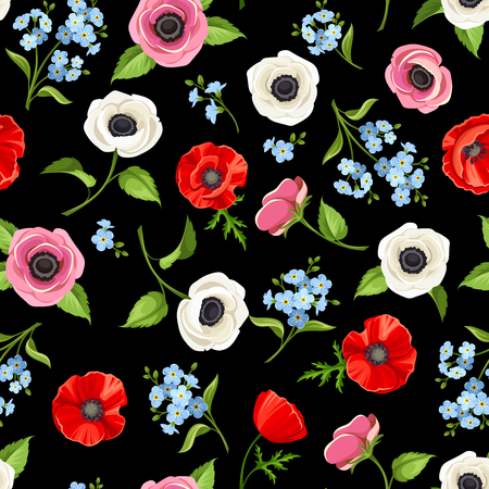 Vector seamless pattern with red, blue and white flowers on a black background.
