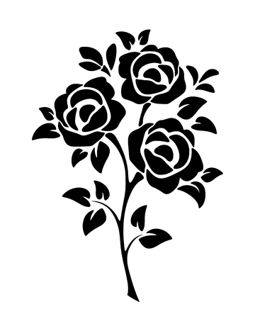 Vector black silhouette of roses isolated on a white background. 版權商用圖片 - 104606176