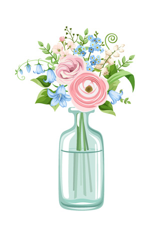 Vector bouquet of pink and blue flowers in a bottle isolated on a white background.