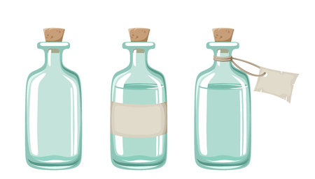 Set of three blue glass bottles isolated on a white background.