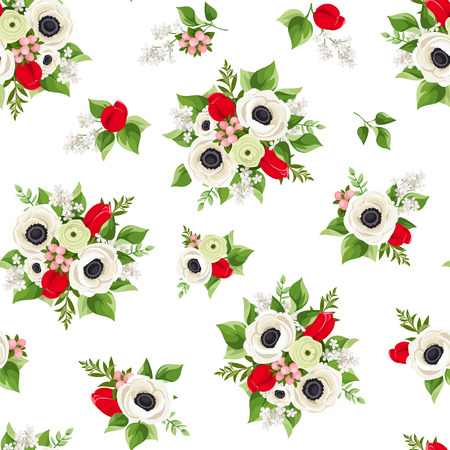 Vector seamless pattern with red and white flowers on a white background.