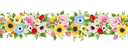 Vector horizontal seamless background with colorful flowers. Illustration