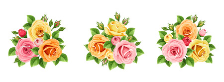 Vector set of pink, orange and yellow roses isolated on a white background. Ilustrace