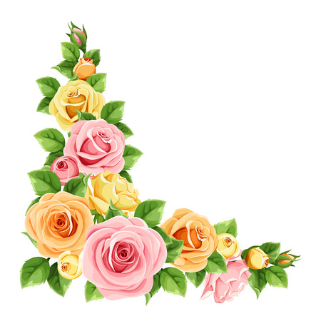 Vector corner background with pink, orange and yellow roses and green leaves.