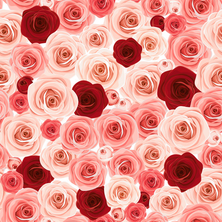 Vector seamless background texture with pink and burgundy roses.