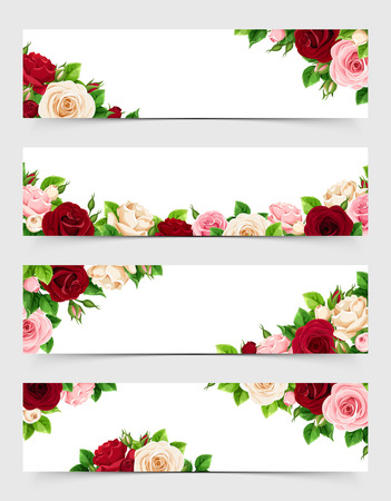Set of vector web banners with pink, burgundy and white roses.