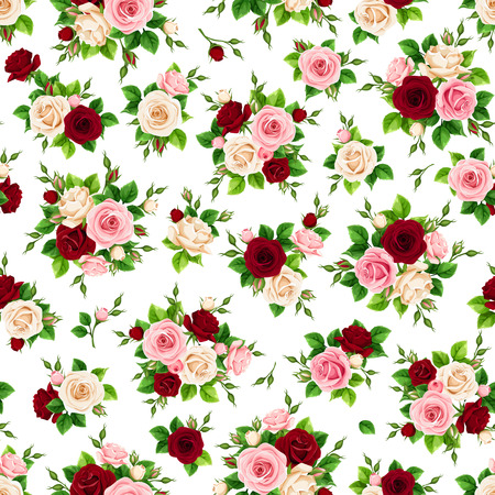Vector seamless pattern with pink, burgundy and white roses on a white background.