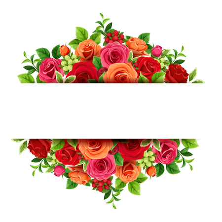 Vector banner with red and orange roses and green leaves.