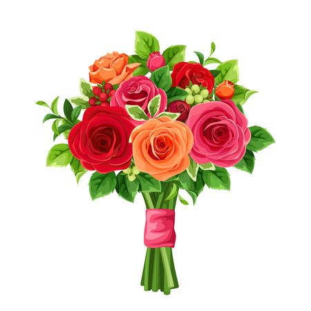 Vector bouquet of red and orange roses and green leaves. Ilustrace