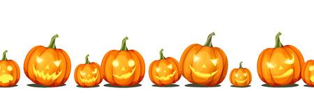 Vector horizontal seamless background with jack-o'-lanterns (Halloween pumpkins). Illustration