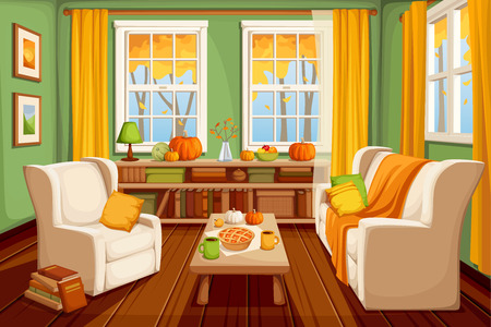 Vector cozy autumn living room interior.