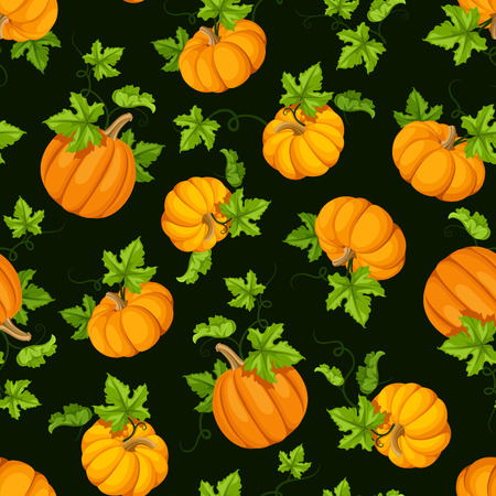 Vector seamless pattern with orange pumpkins and green leaves.