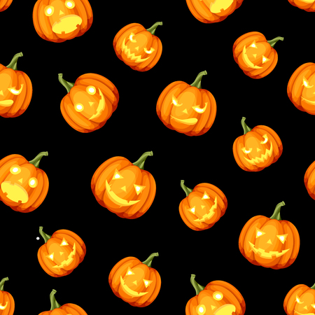 Vector seamless pattern with Jack-O-Lanterns (Halloween pumpkins) on a black background.