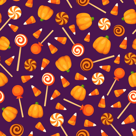 Vector seamless pattern with Halloween candies on a purple background. Ilustrace