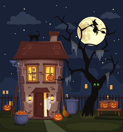 Halloween night city landscape with a haunted house, jack-o-lanterns, tree and full moon in the sky. Vector illustration. Ilustrace