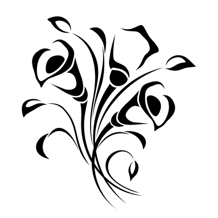 Vector black and white illustration of flowers bouquet.