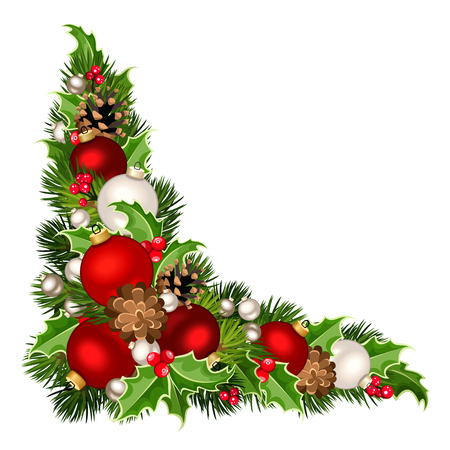 Vector Christmas decorative corner background with red and white balls, fir-tree branches, holly and pinecones.