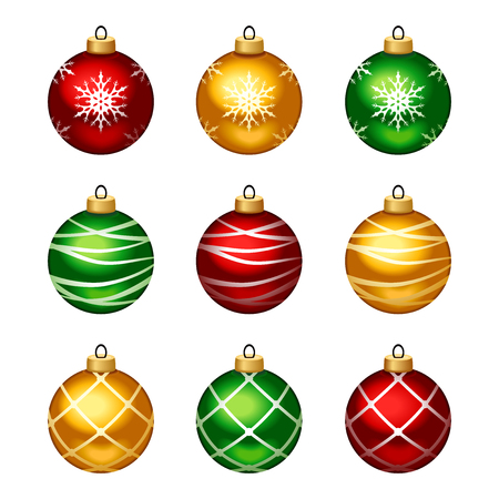 Vector set of red, yellow and green Christmas balls with patterns isolated on a white background.