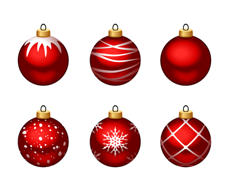 Vector set of red Christmas balls with patterns isolated on a white background.