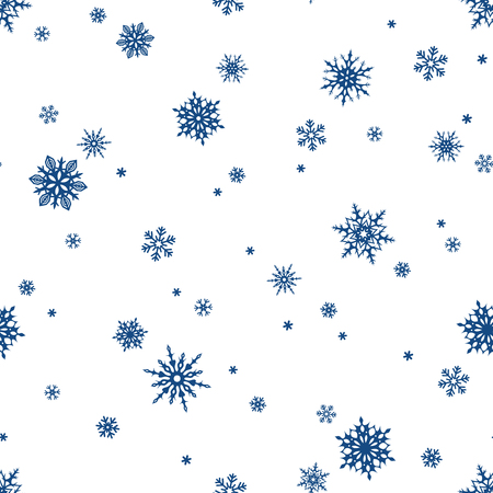 Vector seamless pattern with blue snowflakes on a white background.