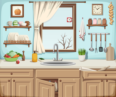 Vector illustration of a kitchen interior with a sink, a window and kitchenware.