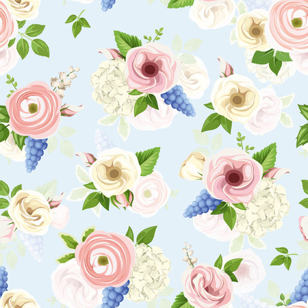 Vector seamless pattern with pink, blue and white lisianthuses, ranunculus, hyacinth, hydrangea and lily-of-the-valley flowers.