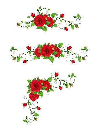 Vector set of vignette elements with red rose vines.