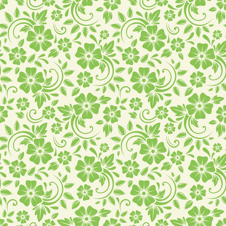 Vector seamless green floral pattern.