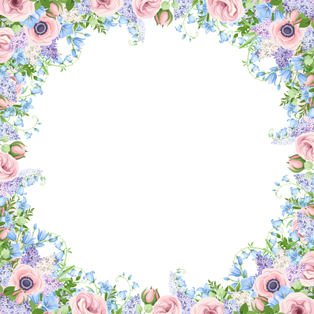 Vector background frame with pink, blue and purple flowers.