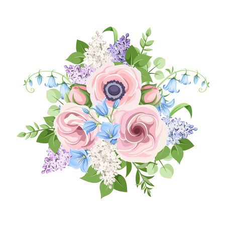 Vector bouquet of pink, blue and purple flowers isolated on a white background. Ilustração