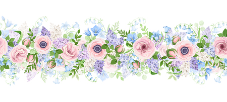 Vector horizontal seamless garland with pink, blue and purple flowers. Ilustração